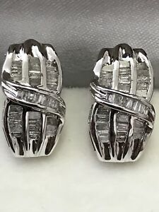 10k Solid White Gold Natural Diamond  earring 0.60ct April Birthstone Baguette