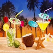 50 Hawaiian Theme Cocktail Umbrella Drinking Straw Assorted Party BBQ Decoration