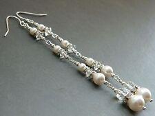 Swarovski White Glass Pearls, Vintage Crystal & 925 Silver Long Bridal Earrings