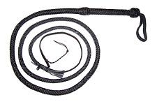 8 Foot 12 Plait BLACK INDIANA JONES STYLE Real LEATHER BULLWHIP (bull whip)