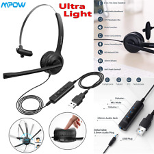 Mpow 3.5mm/USB Stereo Computer Headset Head Headphone with Mic For PC Laptop US