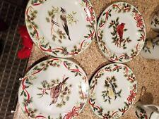 American Atelier Christmas X'Mas Woodland Dessert Salad Plates Set 4 Porcelain