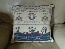 New listing Country Primitive Tapestry Sampler Pillow Floral- Dog -Bunny