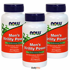 3 x NOW Mens Virility Power Male Performance Formula 60 Caps FRESH, Made In USA