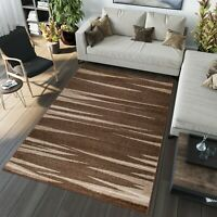 NEW DARK BROWN AREA RUG STRIPES MODERN DESIGN QUALITY RUGS SOFT TOUCH BEST PRICE