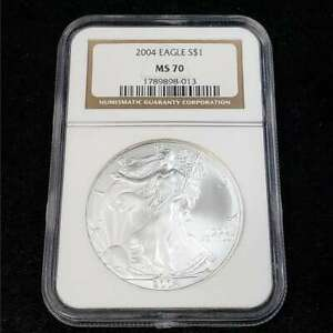 2004 United States American Silver Eagle $1 Dollar NGC MS70 Bullion Coin VK8013