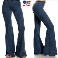 Womens Skinny Flare Denim Jeans Retro Bell Bottom High Waist Pants Trousers US