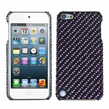 Asmyna Stripe Purple/Black Diamante Back Protector Cover for iPod touch 5