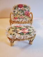 VINTAGE BARBIE DOLL FURNITURE WICKER LIVING ROOM LG CHAIR OTTOMAN FLORAL