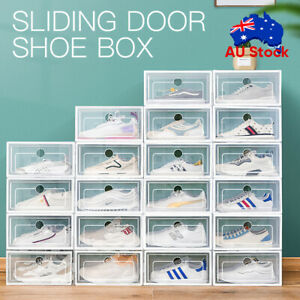 1-24PCS Transparent Shoe Storage Box Stackable Household Drawer Organizer Boxes