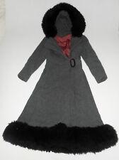 Vtg Long WOOL Dress Over Coat JILL JR Hooded GRAY w/ Black Faux Fur Jacket XS