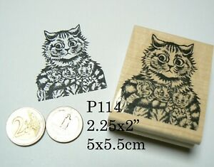 P114 Vintage cat with kittens rubber stamp