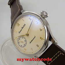 new arrive 44mm parnis yellow dial 6497 movement hand winding mens watch 396C