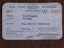 1917 New York Central Railroad Pass/Fireman W M Wingard/Stations E of Cleveland