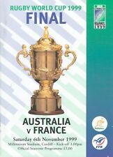 AUSTRALIA v FRANCE 1999 RUGBY WORLD CUP FINAL PROGRAMME WITH COA