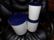 Tupperware Canister Set of 3 in Dark Blue 2416A-2 EUC FREE USA SHIPPING