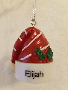 "Hallmark Ganz Plastic Santa Hat New With Tags PERSONALIZED ORNAMENT- ""ELIJAH"""