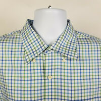 Peter Millar Nanoluxe Easycare Green Blue Check Plaid Mens Dress Shirt Size XL