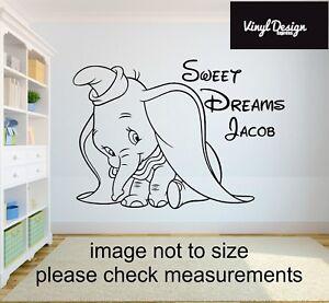 Dumbo disney sweet dreams babies/children vinyl wall art personalised with name