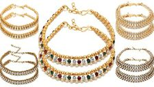 Gold Plated Anklet Kundan Indian Bollywood Party Payal Multi Chain Adjustable
