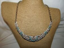 """Turquoise Pearls Opal FAUX Beads CHOKER NECKLACE-18"""""""