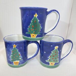 Set of 3 Hand painted Blue Green Christmas Tree Holiday Signed Coffee Mug Lot