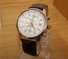 Mens Traditional Style Rose-Gold Brown Leather Rene Valente 100m Chrono Watch