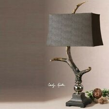 Uttermost Stag Horn Dark Shade Table Lamp in Burnished Bone Ivory