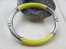 Milor Sterling Silver Lime Green Sparkle Enamel Hinged Italy Bracelet 17.6 Grams