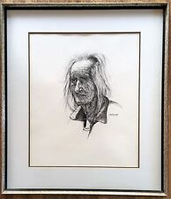 Old Man Original Guadalupe Apodaca Pen Ink Drawing Signed Soulful Expression