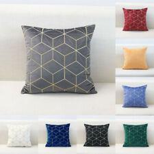 """18"""" Velvet Gold Line Geometric Art Cushion Cover Throw Pillow Case Home Decor"""