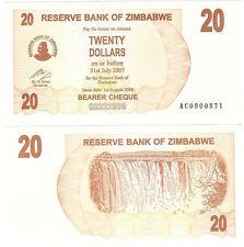 Zimbabwe 20 Dollars 2006 P-40 UNC Uncirculated Banknote - Waterfall