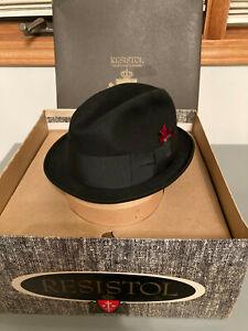 Resistol Black Felt Oval Cowboy Hat Self Conforming Western Sz 6 7/8 Vtg 1966
