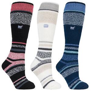 Heat Holders Womens Ladies Striped Thermal Design Outdoor Snow Sports Ski Socks