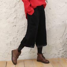 Fashion Womens Autumn Winter Wide Leg Loose Trousers Corduroy Cropped Pants Hot
