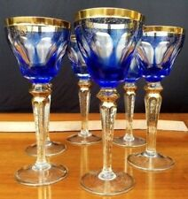 MOSER Wine Glasses X 6 Antique Cut Glass 24K Gold Enameled Gilt 4 1/8""