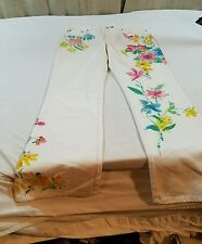 Limited Edition Women Lauren Jeans Co Ralph Lauren White Watercolor Floral Pants