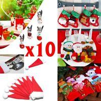 Christmas 10cs Santa Snowman Elk Knife Fork Bag Dinner Tableware Cutlery Holders