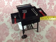 Dollhouse Miniature Home Party Outdoor Black Metal Barbeque Grill w/ Tools 1:12