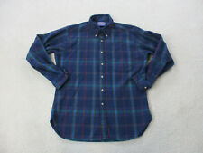 Pendleton Button Up Shirt Adult Large Blue Red Wool Long Sleeve Casual Mens *