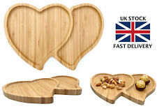 Heart Bamboo Wooden Serving Platter Snack tray - Heart-shaped Serving Tray Plate