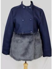 Crewcuts Girls Navy Blue Furry Trim PeaCoat Sz 16 $198