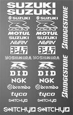 KIT ADESIVI GRAFICHE STICKERS MOTO SPONSOR WHITE CARENE SUZUKI GSX SSX-R GSR SV