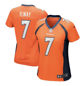 Nike Womens John Elway Denver Broncos Small Orange Game Jersey New