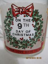 """Luminarc 9TH DAY OF CHRISTMAS """"Twelve Days of Christmas"""" Glass Coffee Cup"""