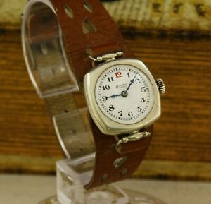 ROLEX antique solid silver 875 Swiss made RARE wristwatch 15 jewels from 1910's