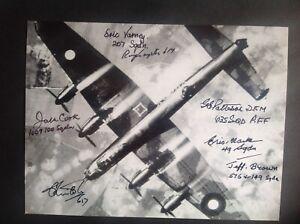 Lancaster Photo Signed 7 Bomber Command Veterans
