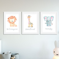 Nursery Decor Wall Art Watercolour Animal Baby Toddler Bedroom Print Decoration