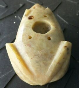 VINTAGE HAND CARVED FROG STONE MARBLE SMALL INCENSE HOLDER