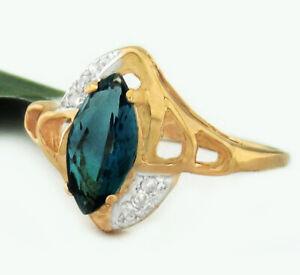 GENUINE 1.19 Cts BLUE ZIRCON & DIAMONDS RING 10K ROSE GOLD * Free Certificate *